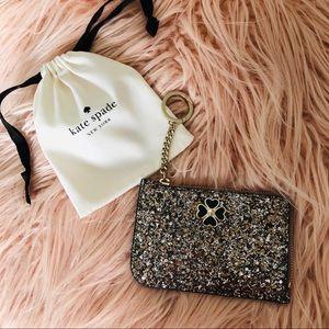 Kate Spade Odette glitter gold l Zip Wallet NWT